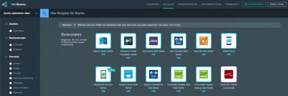 Die Cloud-Plattform Bluemix bietet Entwicklern die Möglichkeit, aus vorgefertigten Bausteinen Apps zu entwickeln und schnell verfügbar zu machen.