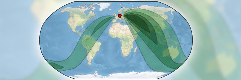 Über Peer-to-Peer-Verbindungen in den grün unterlegten Regionen können Nutzer in Italien und Nowegen miteinander kommunizieren, ohne