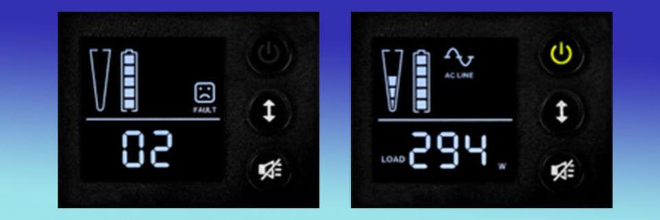 Das Display der Protect-B-Serie von AEG Power Solutions zeigt unter anderem Das Display zeigt Fehlermeldungen und die Last in Watt.