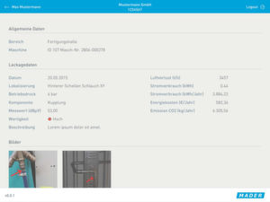 Mit der Leckagen-App von Mader können Drucklufleckagen dokumentiert, priorisiert und ausgewertet werden.