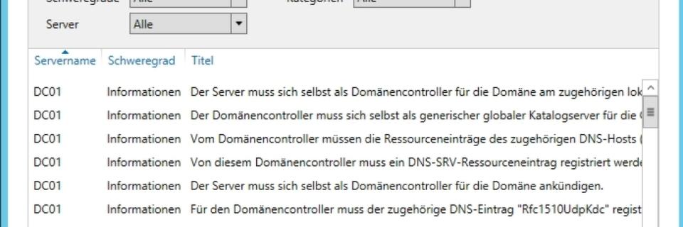 Fehler auf Servern mit Bordmitteln in Windows Server 2012 R2 finden und beheben