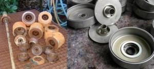 Hier zeigt sich die Wirkung des Inox-Cleaner: links vor, rechts nach der Reinigung