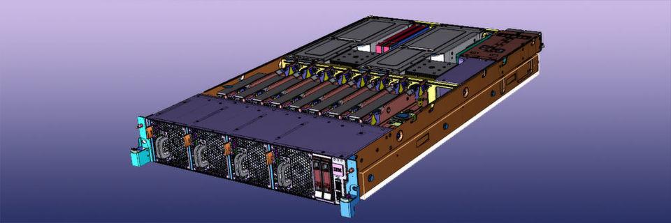 S812LC, eines von drei Modellen der Power Systems LC-Linie, ist ein 1-Socket-2U-System mit bis zu 10 Kernen, 1-TB-Arbeitsspeicher, 115GB/s Speicherbandbreite und bis zu 14 Festplatten.