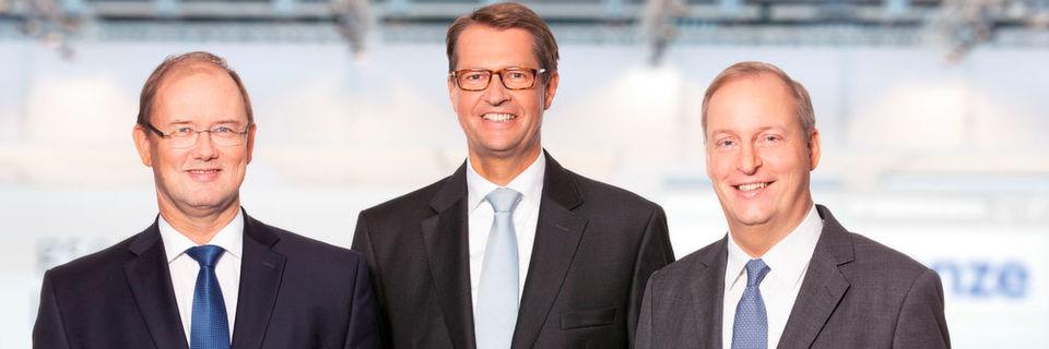 Umsatzrekord und Profitabilität gesteigert: Frank Maier, Vorstand Innovation, Christian Wendler, Vorstandsvorsitzender und Dr. Yorck Schmidt, Finanzvorstand der Lenze-Gruppe (v.l.n.r.).
