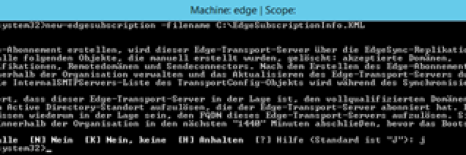 In der Exchange Management Shell des Edge Transport Servers erstellen Sie eine Abonnement-Datei