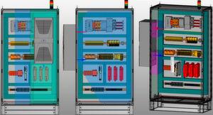 Links: Beim Türaufbau reicht der optimal klimatisierte Bereich nicht bis zur Schrankwand. Mitte: Beim Seitenwandanbau links liegen alle Komponenten im optimal klimatisierten Bereich. Rechts: Die lüftungstechnischen Sperrräume sind frei von Hindernissen.