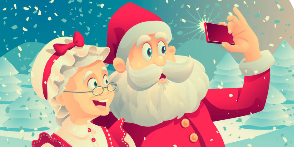 Mit einer Selfie-Stange würden die Fotos vom Weihnachtsmann sicher noch besser gelingen.