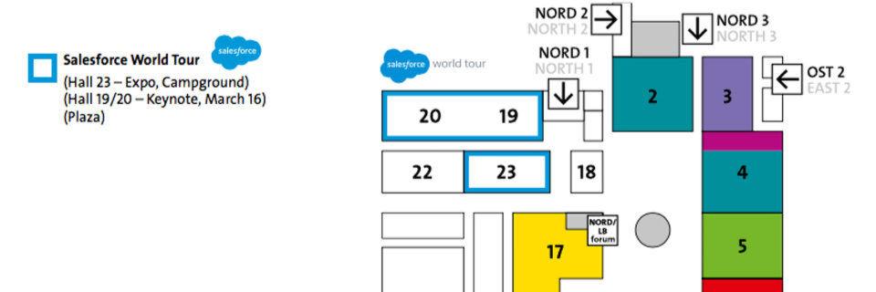 Die Salesforce World Tour gastiert auf der CeBIT 2016 in bester Lage: Die gebuchten Hallen 19/20 und 23 liegen am hoch frequentierten Nord-Eingang.