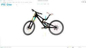 In der CAD-Software PTC Creo existiert das Bike als digitaler Zwilling.