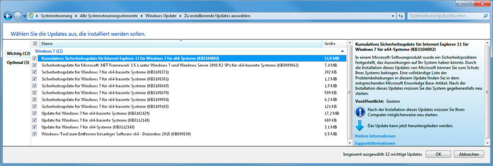 Zwölf Security Bulletins stellt Microsoft im Dezember 2015 bereit, je nach System und Software werden aber weniger oder weitaus mehr Updates installiert.