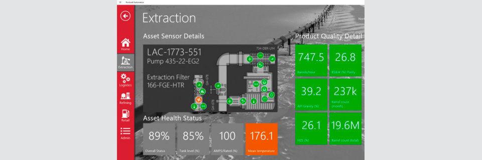 Demo-Schnappschuss von der Azure IoT Suite. Hier ein Beispiel mit einer Pumpe, deren Temperatur offenbar überhöht ist.
