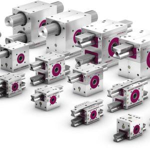 Identische Baugrößen, Anschlussmaße und Ritzelwellen-Enden formieren die Getriebeserien Lifgo und Lean SL zu einem leicht zu handhabenden Baukastensystem.