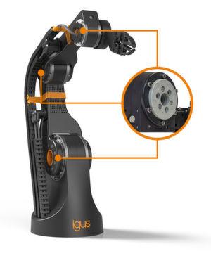 Der Robolink-Robotergelenkbaukasten soll Anwendern die Möglichkeit bieten, kostengünstige Robotiksysteme mit Hilfe von schmier- und wartungsfreien Igus-Kunststoffkomponenten für bewegte Anwendungen zu realisieren.