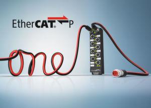 Die Einkabellösung für die Feldebene: Ethercat P integriert in einem Kabel die Ethercat-Kommunikation sowie die System- und Peripheriespannung.