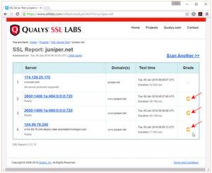 Die Sicherheitsprobeleme bei Juniper Networks liegen offenbar tiefer: Die fehlerhafte SSL-Konfiguration der Domains von Juniper lässt wohl kaum Vertrauen in die Kompetenzen des Firewalls-Anbieters aufkommen (zum Vergleich: DataCenter-Insider.de hat die Note A: datacenter-insider.de_Note_A.png)