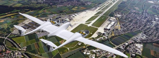 Das viersitzige Brennstoffzellenflugzeug HY4 des DLR über dem Stuttgarter Flughafen.