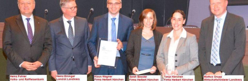 """Für die Innovation """"Hydraulikzylinder aus Carbon"""" wurde Hänchen mit dem 1. Platz beim Innovationspreis 2015 des Landkreises Esslingen ausgezeichnet."""