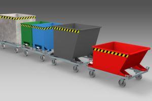 Zur Logimat kommt Bauer mit neuen Behältern für Routenzüge.