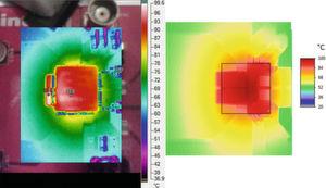 Bild 1: Passt zusammen. Ungeschwärzte Infrarotaufnahme [3] (links) und berechnetes Temperaturfeld auf Layouthintergrund (rechts).