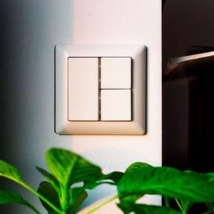 Der Funktaster Scene Switch steuert über das ZigBee Light Link Leuchten. Der Schalter kann nicht nur an eine Wand montiert werden, sondern funktioniert auch als Handtaster.