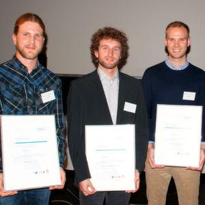 Die Preisträger des Max-von-Pettenkofer-Preises 2015 (v. l. n. r).: Max Mayer, Anton Resch und Stefan Böhm