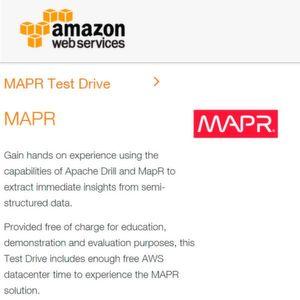Diverse Services der MapR-Plattform können gratis via AWS-Testdrives ausprobiert werden.