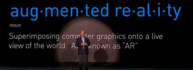 Jim Heppelmann, CEO des Produktentwicklungsspezialisten PTC, kündigt in Boston die Verschmelzung von IoT und Augmented Reality an.