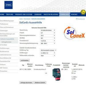 Durch Abfrage der Kern-Produktmerkmale soll der Online-Assistent zügig und zuverlässig sinnvolle und normgerechte Sol-Cone-X-Steckverbindungen herausfiltern.