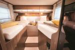 Die mit Abstand beliebteste deutsche Anordnung: Einzelbetten im Heck wie hier im Bürstner Nexxo.