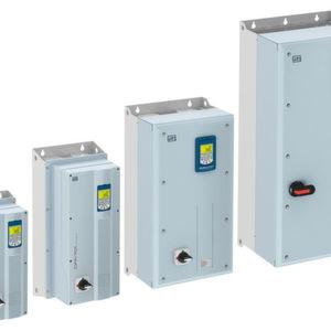 Die Baugrößen B bis E der HLK-Frequenzumrichter CFW701 sind in Gehäusen in Schutzart IP55 erhältlich.