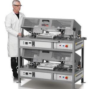 Für einen Kunden in der Chemischen Großindustrie hat Carbolite Gero vier HTR 11/75 Dreh-Reaktoröfen auf kleinstem Raum angeordnet, um eine möglichst große Anzahl von Zeolith-Proben parallel zu kalzinieren.