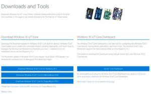 Download-Seite: Die ISO-Files für die auf verschiedene SBCs ausgelegten Windows 10 IoT Core Varianten stehen auf ms-iot.github.io/content/en-US/Downloads.htm zum Download bereit. Für eine möglichst einfache Installation empfiehlt sich der Download des dort ebenfalls verfügbaren Windows 10 IoT Core Dashboards.