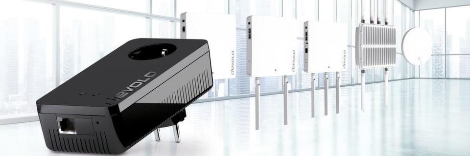 Devolo ergänzt die Gerätepalette für Geschäftskunden um einen Powerline-Adapter mit PoE-Unterstützung sowie um sechs Access Points.