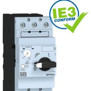 Der Motorschutz-Leistungsschalter MPW80 bietet Kurzschluss- und Überlastungsschutz bei Bemessungsdauerströmen von 32 A bis 80 A.