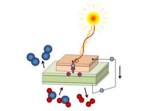Photochemische Zelle: Licht erzeugt freie Ladungsträger, Sauerstoff (blau) wird durch die Membran gepumpt.