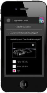 Schritt zwei der Chiller App stellt das passende Zubehör zur Auswahl, beispielsweise das Sockel-System Flex-Block.
