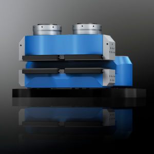 Die passive Schwimmsattelbremse wird komplett aus Stahl gefertigt, wiegt ca. 1100 kg und erzeugt Klemmkräfte bis 600 kN.