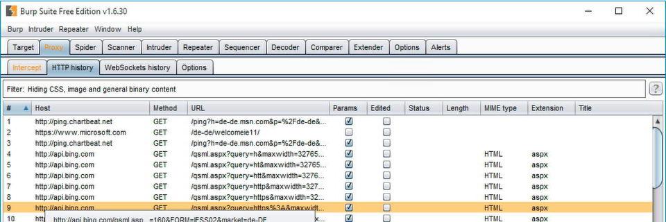 """Die Burp Suite schneidet den Web- und Netzwerk-Traffic granular mit, auf der Registerkarte """"Proxy\HTTP history"""" sind die letzten Verbindungen zu sehen."""