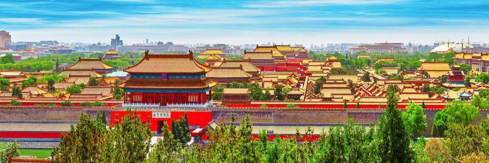 """Jingshan Park, die """"Verbotene Stadt"""" - früheres Macht - und Verwaltungszentrum chinesischer Kaiser."""