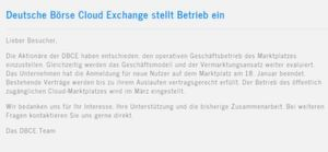 """""""Die Aktionäre der DBCE haben entschieden, den operativen Geschäftsbetrieb des Marktplatzes einzustellen"""" - so die einleitenden Worte des aktuellen Popups auf der Website der DBCE"""