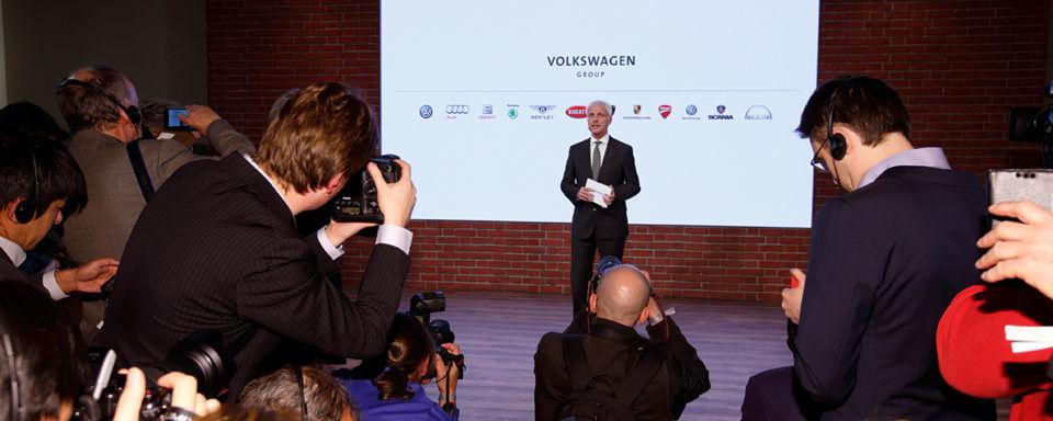 Matthias Müller, Vorstandsvorsitzender des Volkswagen Konzerns, gab beim Konzernabend in Genf einen Ausblick auf den künftigen Weg der Marke.