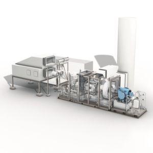 Als detailliert aufeinander abgestimmten Maschinenstrang liefert MAN Diesel & Turbo sowohl Turbine als auch Kompressor (hier in blau) aus einer Hand.