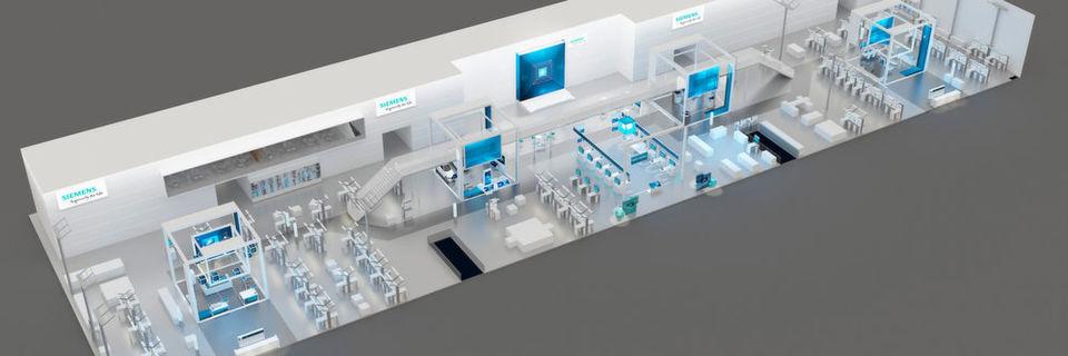"""Unter dem Motto """"Ingenuity for life – Driving the Digital Enterprise"""" bietet Siemens auf der Hannover Messe 2016 auf 3.500 m² einen Überblick über das Industrie-Portfolio."""