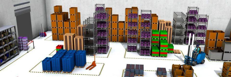 Per 3D-Simulation können logistische Abläufe schnell abgebildet werden und sind leicht zu analysieren.
