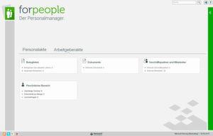 """Der Startbildschirm der elektronischen Personalakte """"forpeople"""" von Forcont."""