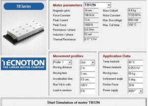 Tecnotion stellt ein Tool zur Verfügung, mit dem die Motoren des Unternehmens auf die individuellen Anforderungen einer Applikation geprüft werden können.