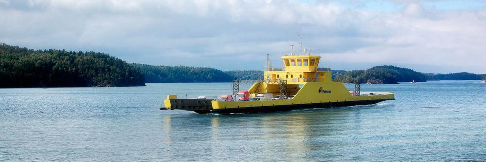 Ein Meilenstein auf dem Weg zur ökologischen Schifffahrt: Die finnische Schifffahrtsgesellschaft Fin-Ferries hat sich mit der Bestellung der ersten batteriebetriebenen Autofähre des Landes für eine umweltfreundliche Technik entschieden. Siemens wird die komplette elektrotechnische Lösung für die Fähre liefern. Dieser Entwurf zeigt die Fähre auf einem Teil der 1,6 Kilometer langen Route von Parainen nach Nauvo.