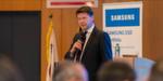 Martin Böker, Director Enterprise Business Division Samsung, präsentiert die Gesamtunternehmensstrategie und Fokusthemen von EBD.