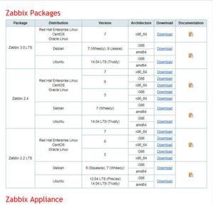 Screenshot von der Zabbix-Seite