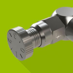 Die Klickdrossel besteht aus einer Hohlschraube und einer Regulierschraube. Das Drehen der Rändelschraube mit Einrastfunktion erlaubt ein feines Dosieren von Volumenströmen.